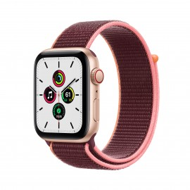 Apple Watch SE GPS+ Cellular 44mm Gold Aluminium Case with Plum Sport Loop