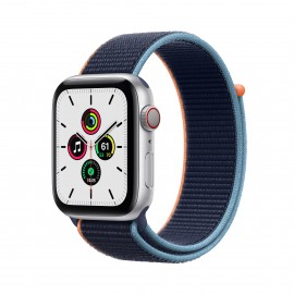 Apple Watch SE GPS+ Cellular 44mm Silver Aluminium Case with Deep Navy Sport Loop