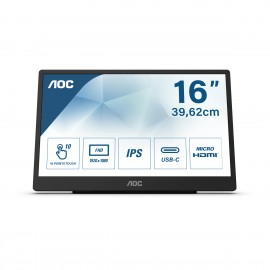 "AOC 16T2 - 39,6 cm (15.6"") - 250 cd/m² - Full HD - LED - 16:9 - 4 ms"