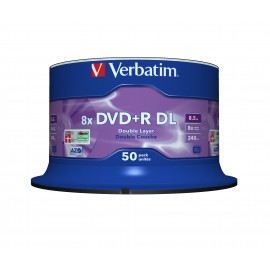 Verbatim DVD+R Double Layer 8x Matt Silver 50pk Spindle - DVD+R DL - 120 mm - Fuseau - 50 pièce(s) - 8,5 Go