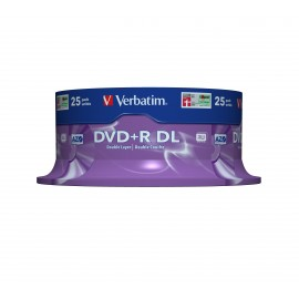 Verbatim DVD+R Double Layer 8x Matt Silver 25pk Spindle - DVD+R DL - 120 mm - Fuseau - 25 pièce(s) - 8,5 Go